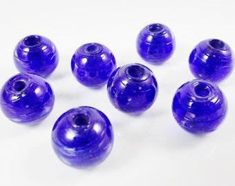 8 Chunky Artisan Handmade Blueberry Blue Glass Bead - 13mm - BE156
