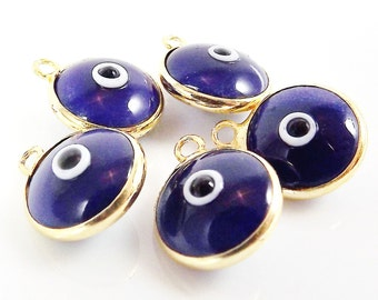 5 Navy Blue Evil Eye Nazar Artisan Glass Bead Charms - Gold Plated Brass Bezel