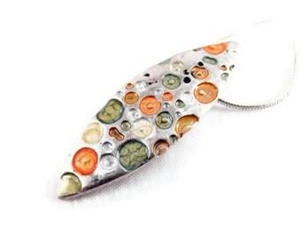 orange silver necklace green enamel pendant small drop pendant enameled necklace minimalist necklace enamel jewelry green jewelry