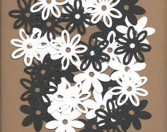 30- 2 inch Black and White flowers Cricut Die Cut