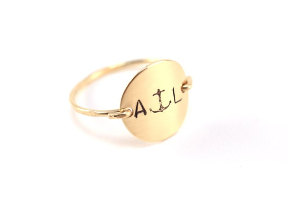 Personalized Initial Letter Monogram Anchor Nautical Stamped Hammered Round Circle Disk Charm Signet Gold Silver Ring Jewelry Christmas Gift