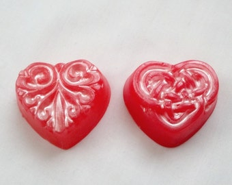 Ten Valentine's Day Heart Celtic Knot or Scroll Goats Milk Guest Soaps by Lavish Handcrafted