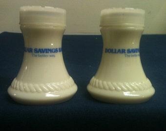 Dollar Savings Bank S&P Shakers - promotional advertising souvenir, Salt and Pepper Shakers