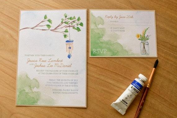Backyard Wedding Invitation: Backyard Charm Wedding Invitation Watercolor Wedding