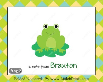 Frog Note Cards choose from 5 designs Set of 10 personalized flat or folded cards