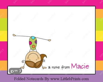 Gymnast Gymnastics Note Cards Set of 10 personalized flat or folded cards