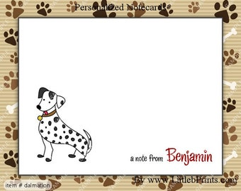 Stick Figure Dalmation Puppy Dog Note Cards Set of 10 personalized flat or folded cards