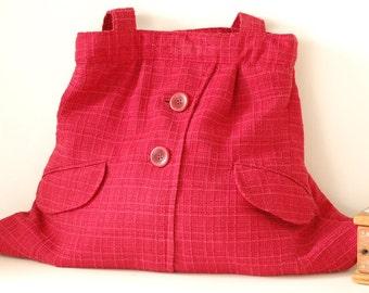 Red Recycled Shoulder Bag, Eco Bag