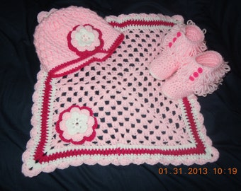 Girls Crochet Textured Hat with Matching Flower, Bootie and Lovie Blanket Set, Customizable Colors