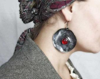 One of a kind, Boho style, red earrings, red, huge earrings, danging earrings, love