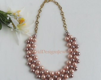 Multi Color Pearl Cluster Bib Bubble Statement Necklace - Soft Plum and Pink Bib Cluster Necklace