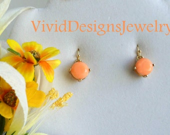 Coral Peach Drop Statement Earrings - Coral Peach Jewelry - Coral Peach Dangle Earrings