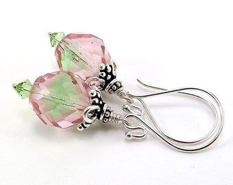 Sterling Silver Earrings with Czech Fire Polish Faceted Round-Transparent Pink Peridot Beads