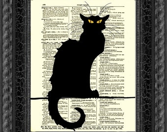 Le Chat Noir on Antique Dictionary Page, Dictionary Print, Black Cat Art, Wall Decor, Wall Art, Mixed Media