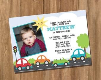 Cars Birthday Party Invitation with Photo (Digital - DIY)