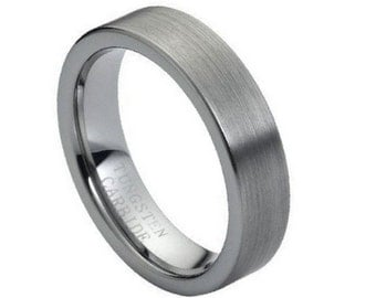 Personalized Tungsten Carbide Brushed Polished Flat Pipe Cut Style 6mm