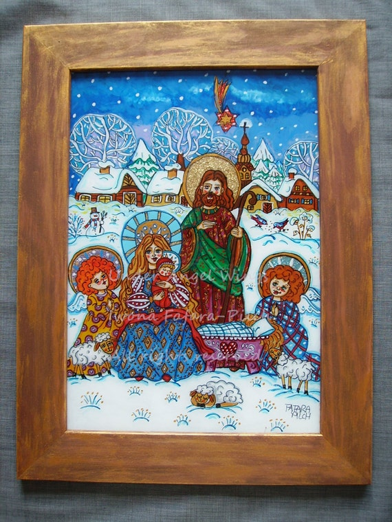 The Holy Family acrylic glass painting picture folk art child Mother of God Our Lady Joseph Jesus nativity crib creche winter snow white