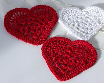 Crochet Hearts Appliques Set of 3 Valentines Day Ornament home decorating