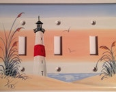 Red Stripe Lighthouse Triple Toggle Lightswitch cover