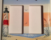 Red Stripe Lighthouse Double Rocker Lightswitch cover