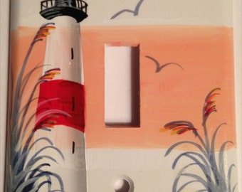 Red Stripe Lighthouse Lightswitch cover
