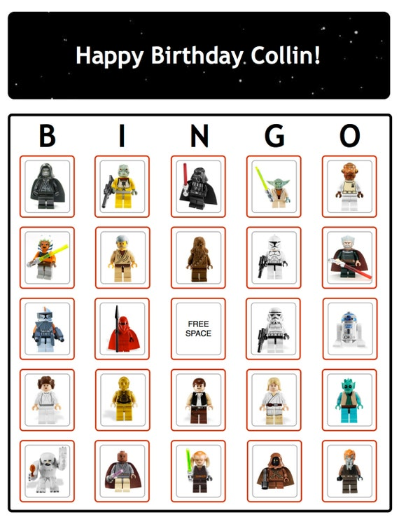 Bingo Star Wars Birthday Party Game Cards Now With THE FORCE