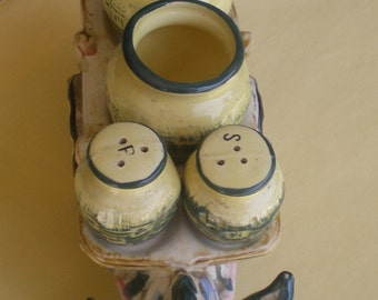 VINTAGE DONKEY CART  Salt and Pepper and Cream and Sugar Holder