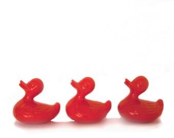 3 Vintage orange plastic ducks