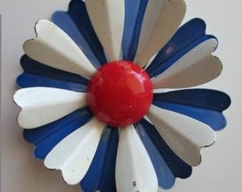 SALE - Vintage Nautical Red, White & Blue Enamel Flower Brooch