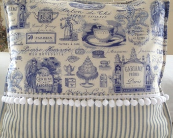 French Country Pillow Cover, Shabby Chic Pillow Cover, Paris Blue Toile Pillow Cover, Blue Ticking Pillow Sham,