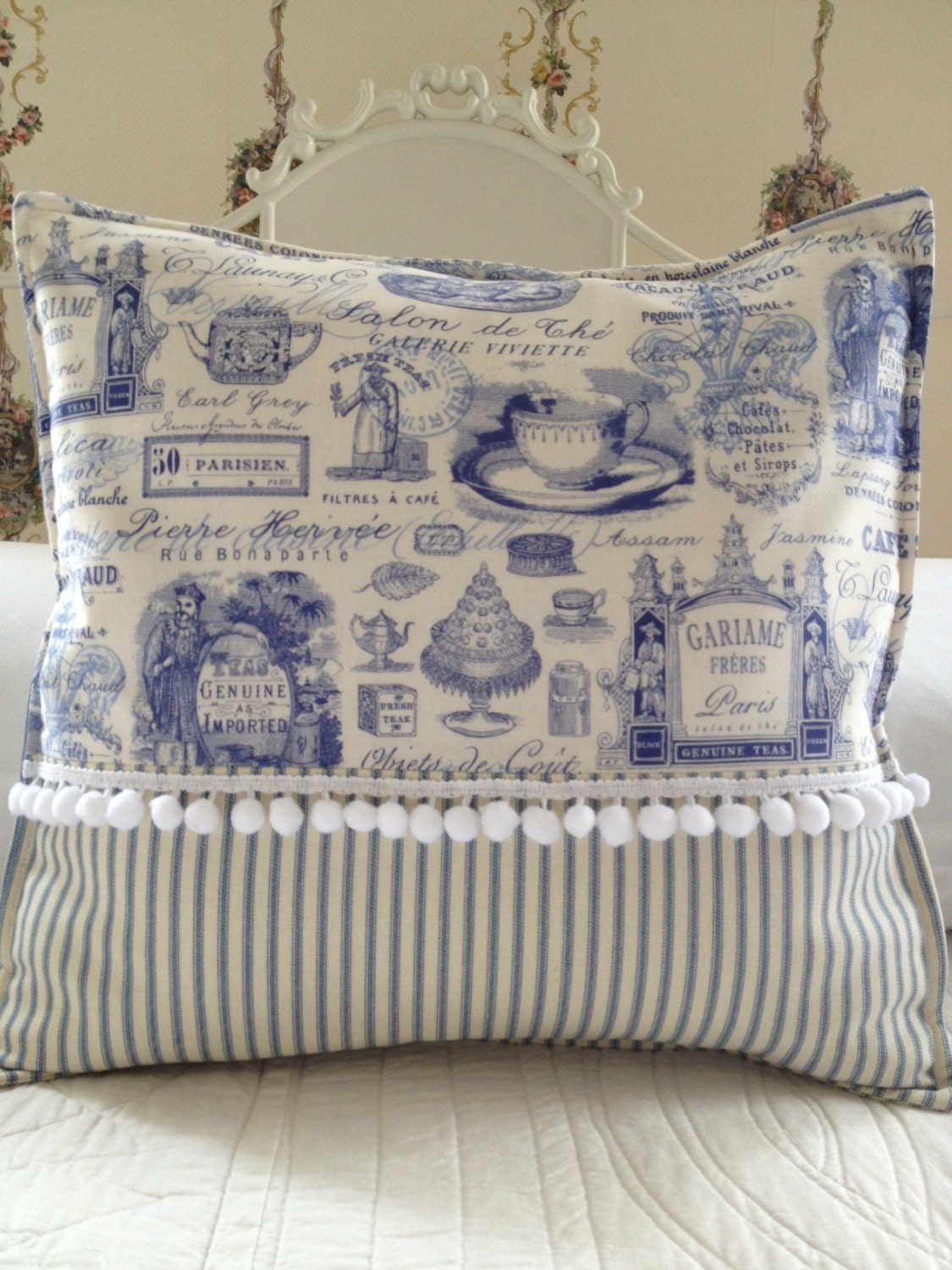 French Country Pillow Cover Shabby Chic Pillow Cover Paris