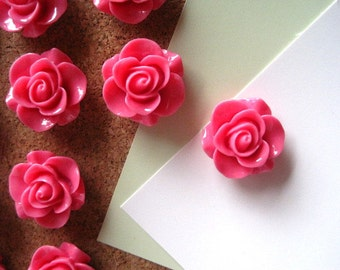 Pink Push Pins, Rose Thumbtacks, Flower Tacks, Pink Rose Tacks, Cottage Chic Tacks,  Housewarming Gifts, Hostess Gifts, Wedding Favors