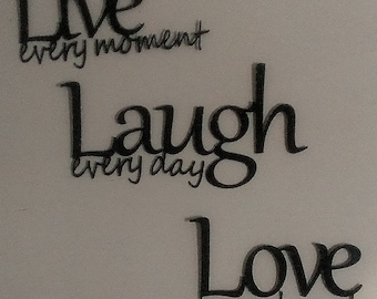 Live Laugh Love Metal Wall Art - Black