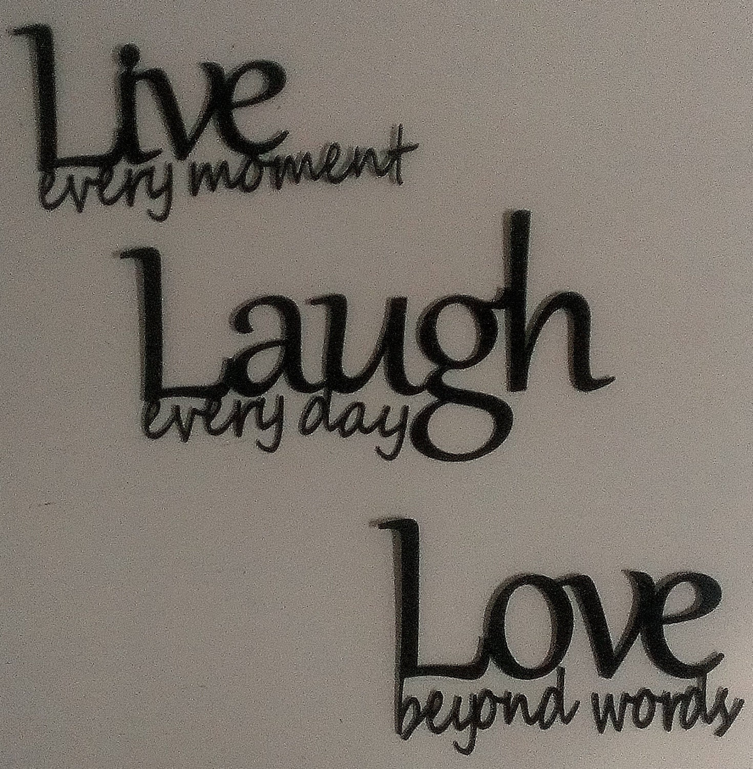live laugh love metal wall art black