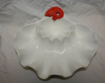 Vintage Clam Shell Dip and Chip bowl with bright red shrimp accent