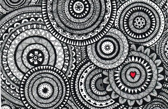 Libreta De Dibujo Mandala Unicornio Papel Blanco: Items Similar To Black And White Zentangle Circle Collage