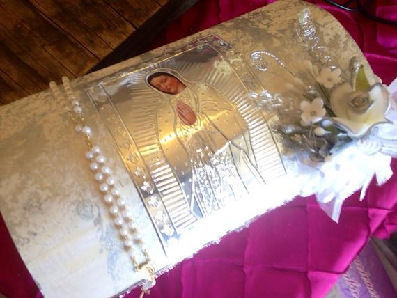 Baptism Candle set / Set de bautizo  En Repujado con Virgen de Guadalupe , Baul de Madera/ Vela Para Bautizo