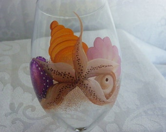 Sea Shells and Starfish Hand Painted Wine Glasses