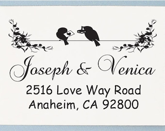 Return Address Stamp - Personalized Address Stamp - Custom Address Stamp - Love Birds Design - AS07