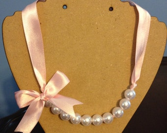 Lite Pink Pearl Ribbon Necklace