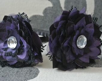 Black and Purple Fabric Flower Pen with Gem