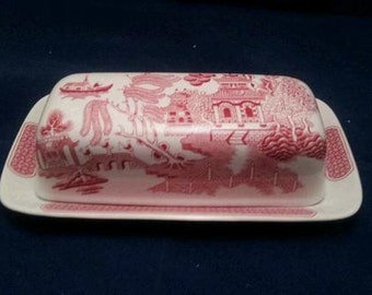 Brand New Pink Willow Butter Dish - Mint