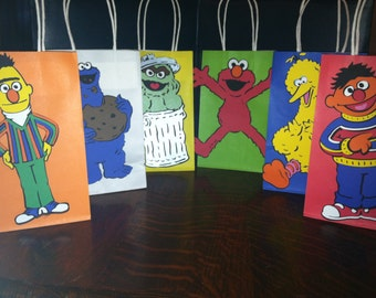 "Super Cute Set of (6) Sesame Street Character Large Size Birthday Party Goody Bags - with 8"" Character Die Cuts"