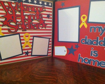 Welcome Home Soldier/Daddy Pre Made 12 x 12 Double Page Layout
