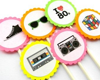 12 Neon 80s Cupcake Toppers, 80s Theme, Awesome 80s, Neon Birthday, Dirty Thirty, Old School, 80s Party, 80s Toppers, Neon Party, Boom Box