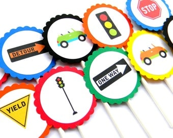 12 Transportation Cupcake Toppers, Vehicle Theme, Cars Birthday, Road Signs, Transportation Toppers, Boy Baby Shower, Car Theme