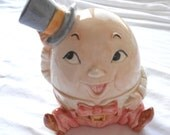 FREE U.S. shipping - Ceramic Humpty Dumpty Coin Bank Quon-Quon Made in Japan 1983