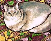 "Fluffy sweet Kitty green eyed Cat Art 8""x10"" Print Lovely Unique Stained Glass Style K.McCants"