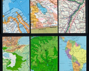 Maps - Artist Trading Card Backgrounds - ATC, Collage, Decoupage, Altered Books