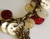 """Steampunk Vintage Buttons and Gears 8"""" Bracelet Vintage Brass Red, White, MOP Buttons Butterfly Charm Ladies Fashion Jewelry Birthday Gift"""